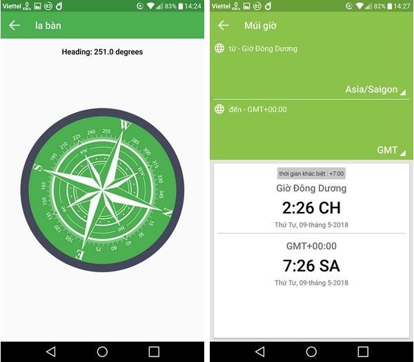 Giao diện chức năng la bàn (trái) và ứng dụng chuyển đổi múi giờ (phải) trên ứng dụng