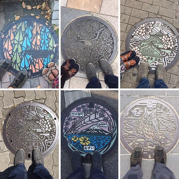 """Những bức tranh vẽ trên nắp cống tại Nhật Bản để chúng trở nên sinh động hơn, che đi sự """"sần sùi"""" trên đường"""