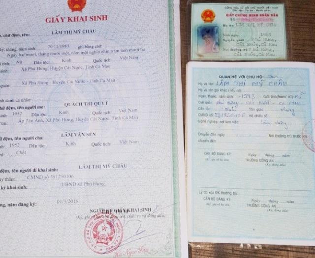Những giấy tờ mang tên Lâm Thị Mỹ Châu, ghi giới tính nữ.