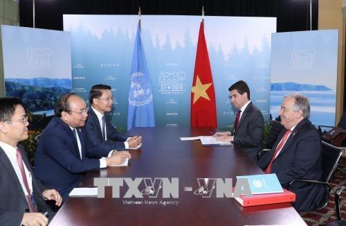 Thủ tướng Nguyễn Xuân Phúc gặp Tổng Thư ký Liên Hợp Quốc António Guterres (ảnh: TTXVN)