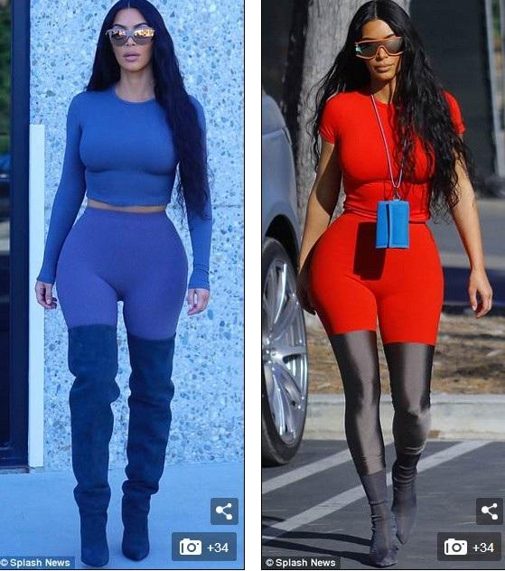 Trong 2 ngày liên tiếp, Kim Kardashian liên tục ăn vận trang phục khác người