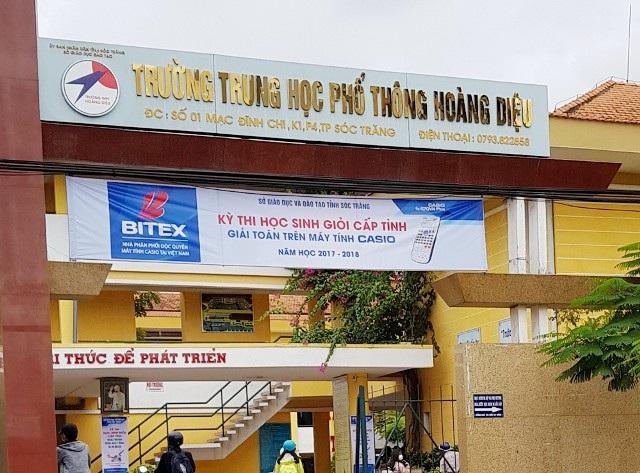 Trường THPT Hoàng Diệu (TP Sóc Trăng), nơi xảy ra vụ việc.