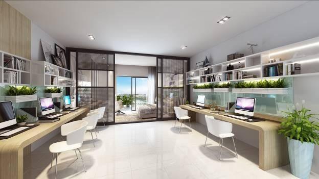 Căn hộ SOHO tại D'.Capitale có diện tích từ 38m2, thiết kế thông minh để tận dụng tối đa không gian và tầm nhìn thoáng (hình ảnh minh họa)