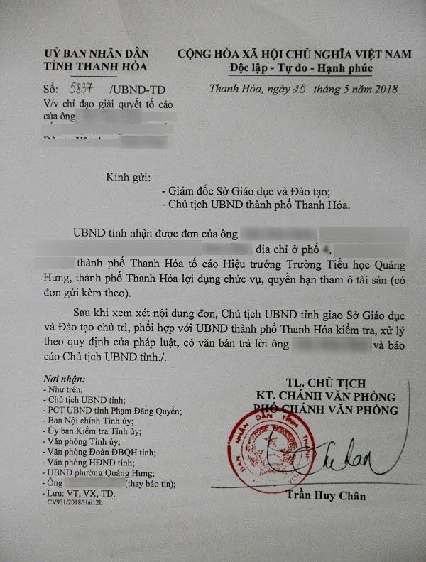 Văn bản của UBND tỉnh Thanh Hóa chỉ đạo làm rõ thông tin bà Hiền bị tố tham ô tài sản.
