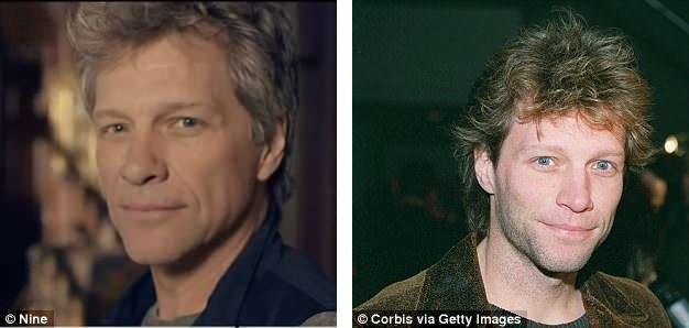 Jon Bon Jovi (56 tuổi - trái) không khác nhiều so với hồi năm 1998 (phải) dù hai thập kỷ đã trôi qua.