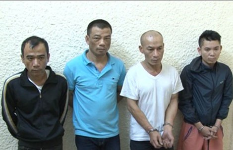"""Đồng phạm của Long """"ma"""" sa lưới: Hoàng Quốc Hùng, Nguyễn Văn Thắng, Nguyễn Xuân Trường, Mai Vũ Long."""