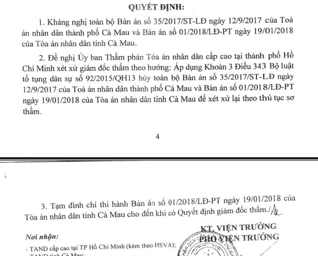 Viện KSND cấp cao tại TPHCM quyết định kháng nghị toàn bộ 2 bản án sơ thẩm và phúc thẩm Tranh chấp về việc đơn phương chấm dứt hợp đồng lao động giữa bà Lê Thị Thùy Linh và Phòng Kinh tế TP Cà Mau.