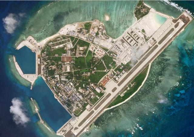 Ảnh vệ tinh chụp đảo Phú Lâm thuộc quần đảo Hoàng Sa của Việt Nam ngày 28/3 (Ảnh: Reuters)