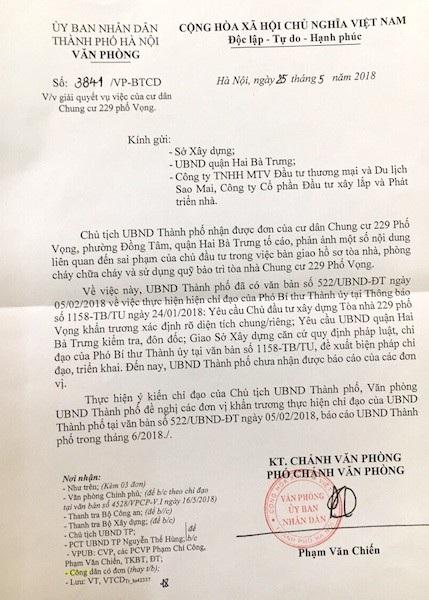 Văn phòng UBND TP Hà Nội có công văn gửi các đơn vị liên quan đề nghị giải quyết dứt điểm sự việc.