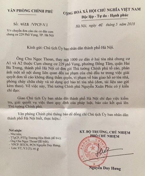 Thủ tướng chỉ đạo giải quyết tố cáo sai phạm của 1000 cư dân chung cư 229 phố Vọng.