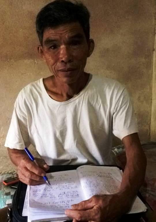 Ông Kiệm, người đã phát hiện ra việc làm sai trái của cán bộ xã Quảng Lộc.
