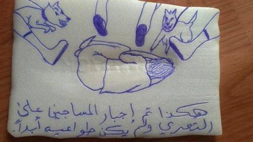 Một hình vẽ do AP thu thập cho thấy cảnh tù nhân bị ngược đãi, tra tấn tại một nhà tù do UAE điều hành ở Yemen Ảnh: AP