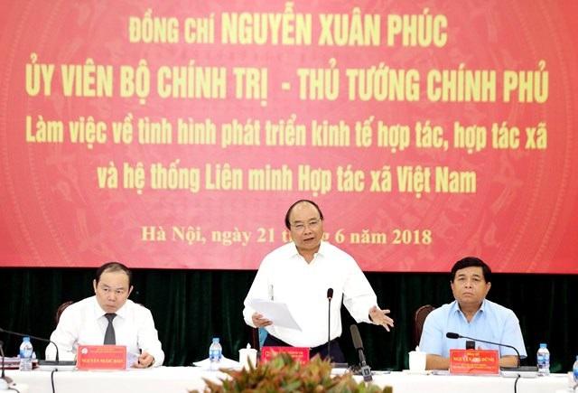 Thủ tướng làm việc với Liên minh Hợp tác xã Việt Nam.