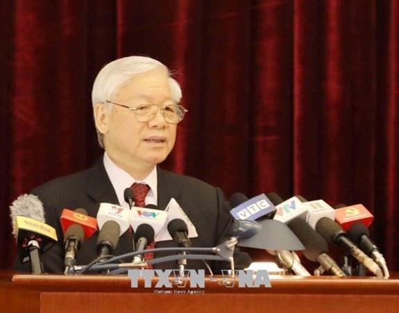 Tổng Bí thư Nguyễn Phú Trọng phát biểu khai mạc hội nghị. Ảnh: TTXVN