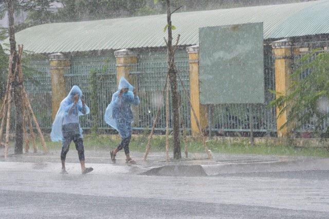 Thí sinh đội mưa hối hả tới điểm thi Toán - 1