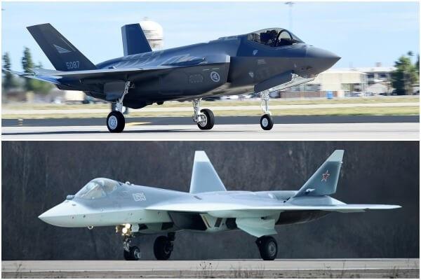 Máy bay chiến đấu F-35 (trên) và máy bay chiến đấu Su-57 (Ảnh: Defense News)