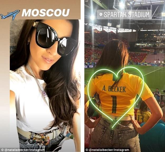 Natália Loewe Becker diện áo của tuyển Brazil và mang tên chồng mình. Cô ngồi trên khán đài giữa những khán giả của Brazil và cổ vũ hết mình.