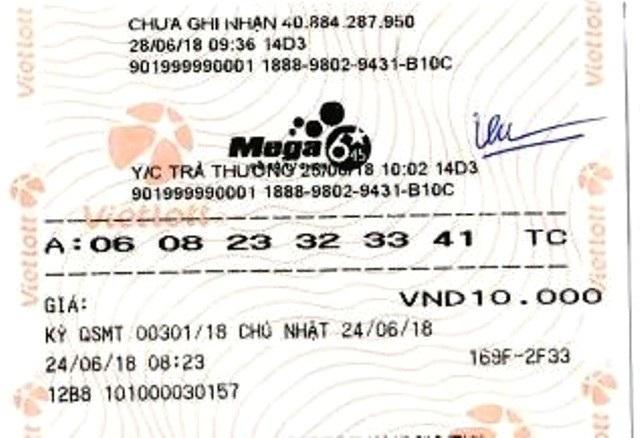 Tấm vé may mắn trúng hơn 45 tỷ đồng của bà H.