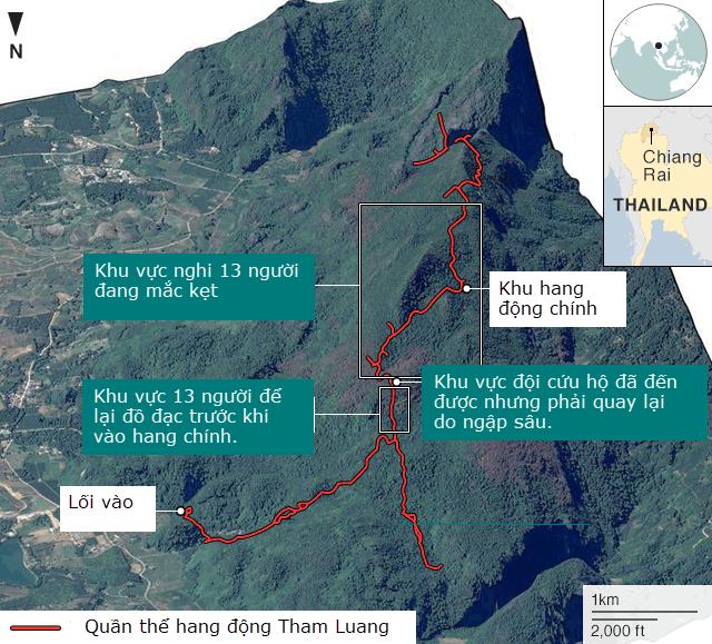 Khu vực hang động Tham Luang (Ảnh: BBC)