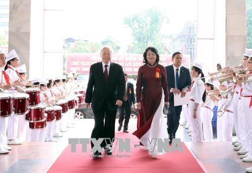 Tổng Bí thư Nguyễn Phú Trọng và Phó Chủ tịch nước Đặng Thị Ngọc Thịnh đến dự Lễ kỷ niệm. Ảnh: Thống Nhất/TTXVN