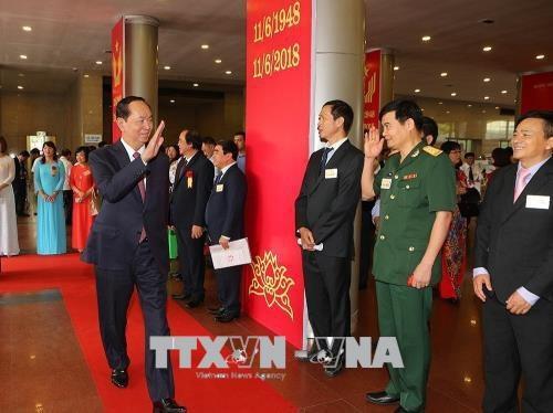 Chủ tịch nước Trần Đại Quang đến dự Lễ kỷ niệm. Ảnh: Dương Giang/TTXVN