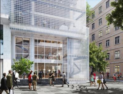 Lối vào là một bức tường kính lớn sẽ thu hút du khách qua lại, hướng họ đến với không gian cộng cộng ngay bên trong. Dọc theo mặt trước của tòa nhà, khoảng thông tầng và các cầu thang xoắn ốc sẽ cung cấp sự lưu thông theo chiều dọc, tăng thêm sự tương tác giữa các tầng và không gian công cộng. Mặt tiền của tòa nhà được thiết kế để hoạt động như một bộ lọc với mục đích tối ưu hóa các điều kiện khí hậu và thị giác. Ngoài ra, mặt tiền bằng gạch kính sẽ biến tòa nhà thành một hộp đèn và là điểm nhấn cho khu phố vào buổi tối.
