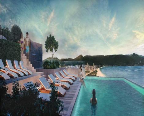Tầng trệt là quán café - nơi mọi người có thể phóng tầm nhìn ra bãi biển, du khách sẽ nhận phòng tại sảnh tầng 2 của khách sạn. Một hồ bơi, sky bar trên sân thượng sẽ giới thiệu cho các bạn một bức tranh toàn cảnh về bãi biển tuyệt đẹp để ngắm mặt trời mọc hay ngắm hoàng hôn trên biển.