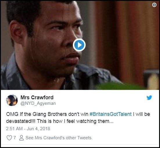 """Tài khoản Mrs Crawford: """"Chúa ơi, nếu Giang Brothers mà không giành chiến thắng, tôi sẽ bị suy sụp đấy nhé!!! Biểu cảm trong clip này giống hệt tôi khi xem họ biểu diễn...""""."""