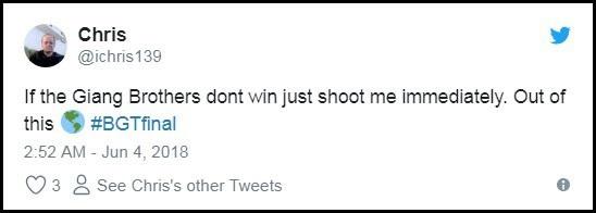 """Tài khoản Chris: """"Nếu Giang Brothers mà không giành chiến thắng, giết tôi ngay đi. Một tiết mục không tưởng!""""."""