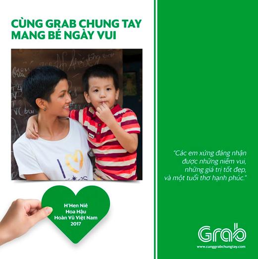 Chương trình Cùng Grab Chung Tay - Mang Bé Ngày Vui nhận được rất nhiều sự đóng góp, trong đó có cả HHHV 2017 HHen Niê.