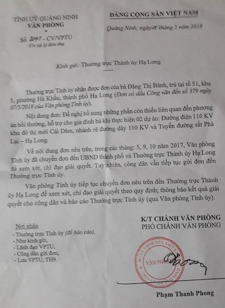 Văn phòng tỉnh ủy Quảng Ninh tiếp tục đốc thúc trả lời đơn thư công dân!
