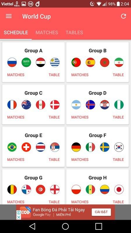 Lịch thi đấu thông minh - Ứng dụng không thể thiếu trên smartphone trong mùa World Cup - 1