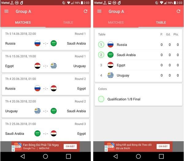 Lịch thi đấu thông minh - Ứng dụng không thể thiếu trên smartphone trong mùa World Cup - 2