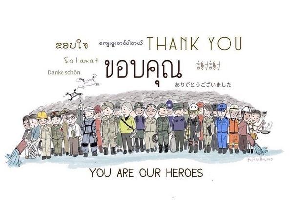Dĩ nhiên cư dân mạng cũng không quên gửi lời cám ơn đến lực lượng cứu hộ, những người được xem như những anh hùng đang mạo hiểm cả mạng sống của mình cho chiến dịch giải cứu