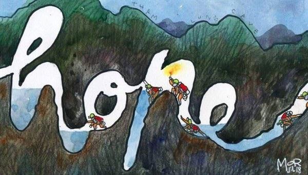 """Đường hầm trong hang được tạo nên từ chữ """"Hope"""" (Hy vọng)"""