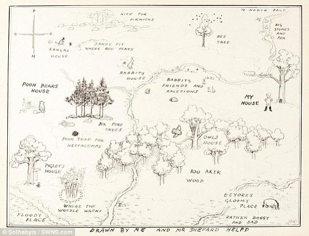 """Hình ảnh về tấm bản đồ minh họa """"khu rừng trăm mẫu"""" được in trong cuốn """"Winnie-the-Pooh""""."""