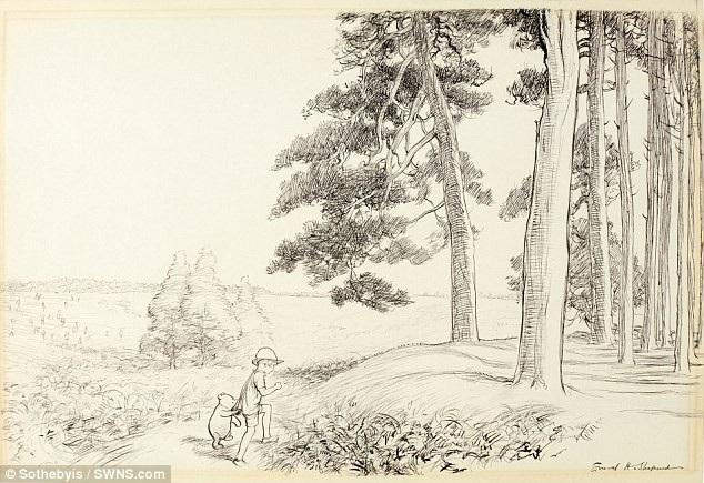 """Cảnh hai người bạn thân thiết - cậu bé Christopher Robin và gấu Pooh - nắm tay nhau bước lên chỗ cao nhất của """"khu rừng trăm mẫu"""", nói lời tạm biệt cuối cùng."""