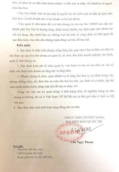 Cư dân cụm chung cư 229 Phố Vọng phản đối một số kết luận của đoàn kiểm tra Sở Xây dựng.