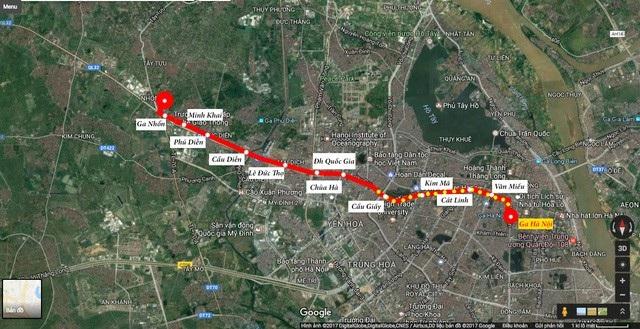 Toàn tuyến đường sắt đô thị Nhổn- ga Hà Nội