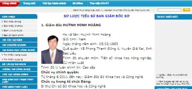 Ông Huỳnh Minh Hoàng từng là Giám đốc Sở KH&CN tỉnh Bạc Liêu. (Ảnh chụp trên Cổng TTĐT Sở KH&CN Bạc Liêu vào ngày 30/11/2017)