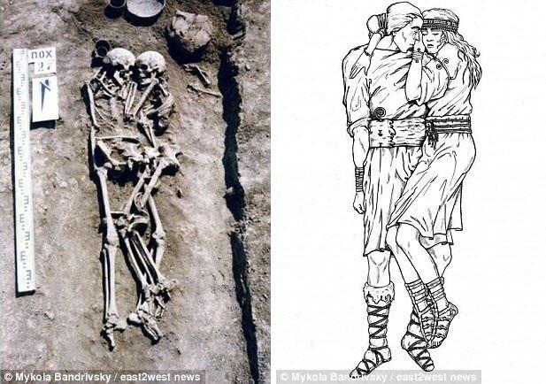 Hài cốt của cặp đôi ôm nhau được tìm thấy trong ngôi mộ cổ3.000 năm tuổi ở Ukraine và bức tranh phục dựng (phải).