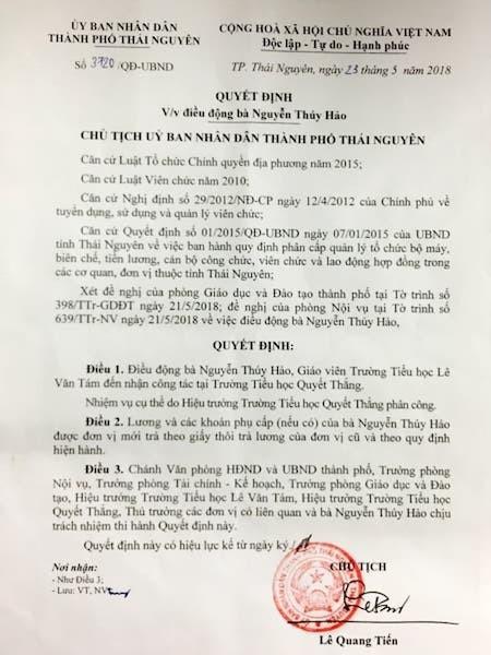 Quyết định điều chuyển công tác của UBND TP Thái Nguyên khiến bà Hảo hết sức bất bình.