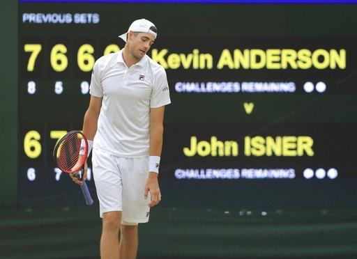 Sự thất vọng của Isner sau một cú đánh hỏng
