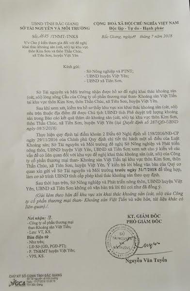 Sở TN&MT tỉnh Bắc Giang xin ý kiến nhưng lại đề nghị nếu Sở Nông nghiệp và Phát triển nông thôn, UBND huyện Việt Yên, UBND xã Tiên Sơn không có văn bản trả lời thì coi như đã đồng ý việc cho phép đào cát trên sông Cầu.