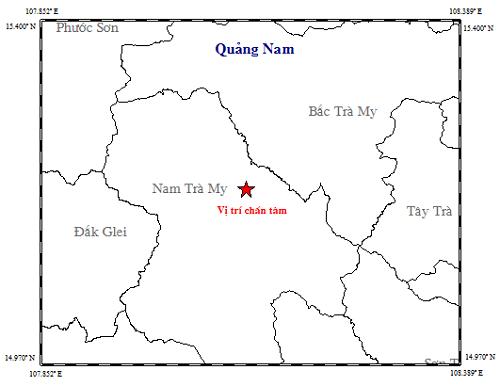 Vị trí trận động đất ở Nam Trà My sáng 17/7. (Ảnh: Viện Vật lý Địa cầu)