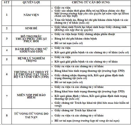 Minh họa hồ sơ Yêu cầu Giải quyết Quyền lợi Bảo hiểm được hướng dẫn trên Website của công ty Manulife Việt Nam