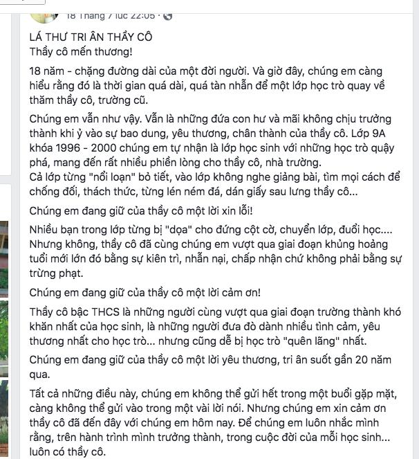 Lá thư cảm động viết cho thầy cô làm nhiều người cay khóe mắt đang được lan truyền trên mạng xã hội
