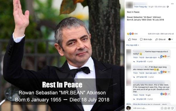 Một trang Facebook chia sẻ thông tin giả mạo về cái chết của Rowan Atkinson đã thu hút hơn 40 ngàn lượt bày tỏ cảm xúc và hơn 89 ngàn lượt chia sẻ