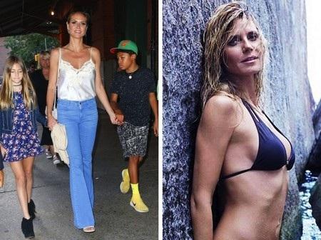 Siêu mẫu Heidi Klum đã làm một bà mẹ 4 con nhưng thân hình vẫn quyến rũ hệt như ngày nào. Chân dài gốc Đức từng bật mí bí quyết giảm câm sau sinh là nhờ cho con bú và dĩ nhiên, Heidi Klum rất tích cực vận động như lái xe đạp hay đi dạo với cún cưng.
