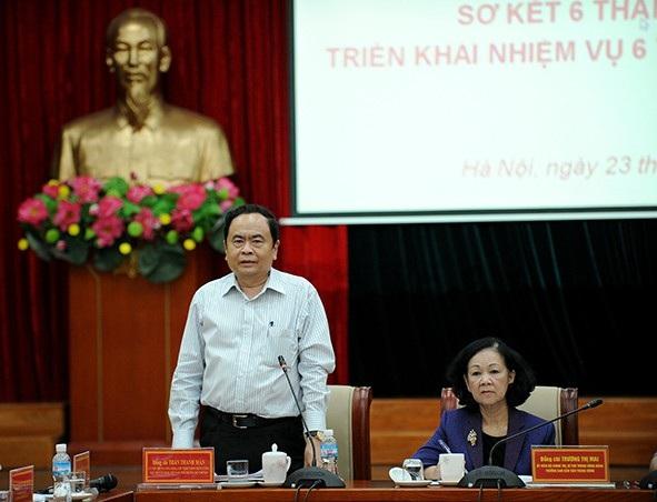 Chủ tịch UB Trung ương MTTQ Việt Nam Trần Thanh Mẫn phát biểu tại hội nghị